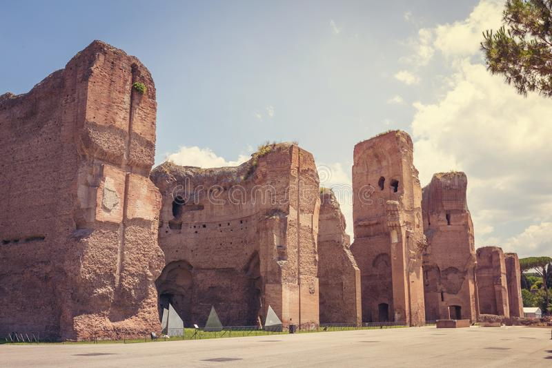 Terme di Caracalla. Or The Baths of Caracalla in Rome, Italy, were the city`s second largest Roman public baths, or thermae,Roma, Italy,Europe royalty free stock photography