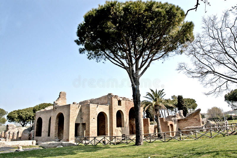 Terme Taurine. Civitavecchia,Rome Italy Terme Taurine is a Roman archaeological site located in Civitavecchia, isolated, on a hill just a few kilometers from the royalty free stock photos