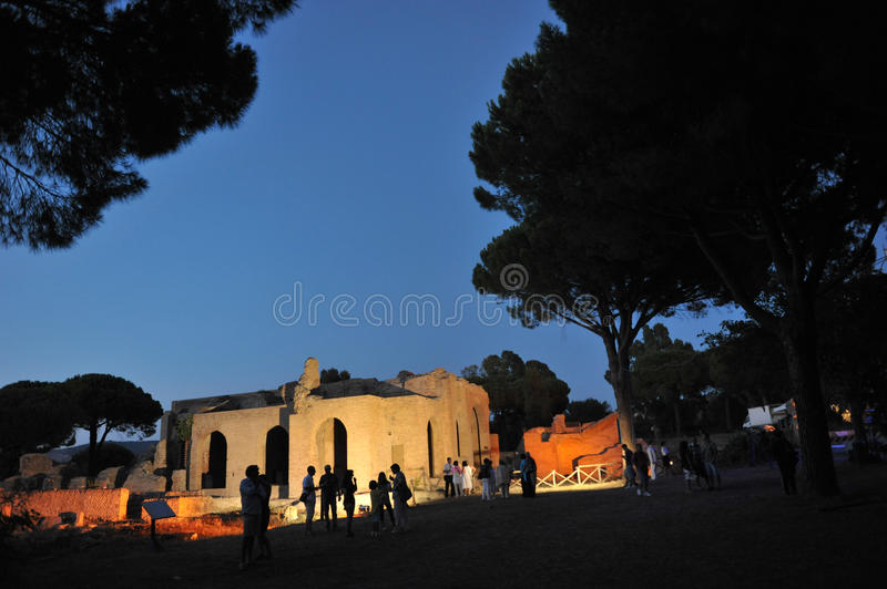 Terme Taurine night. Civitavecchia,Rome Italy Terme Taurine is a Roman archaeological site located in Civitavecchia, isolated, on a hill just a few kilometers stock photography