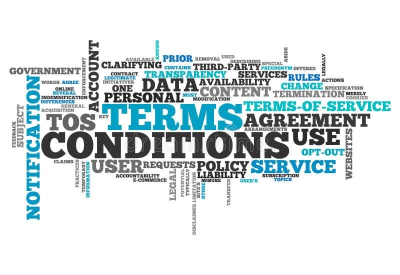 Termes et conditions de nuage de Word illustration stock