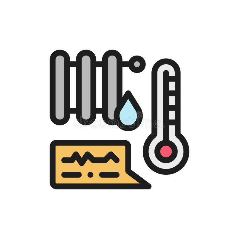 Termicznej baterii koloru mieszkania ikona Mądrze domowej automatyzaci pojęcie ilustracji
