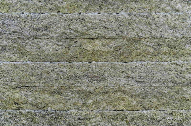 Termicznej izolacji materia?, rockowa we?na Termiczna dachowa izolacji warstwa Kopalnej wełny lub kopaliny włókno, kopalna bawełn fotografia royalty free