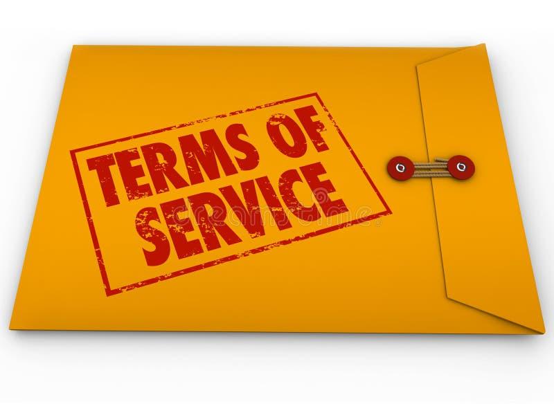 Termijnen van TOS van de de Dienst Geel Envelop Voorwaardencontract Restric stock illustratie