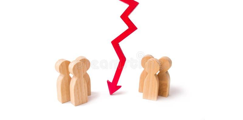 Terminação e divisão das relações, quebrando laços Ruptura do contrato, conflito de interesses Negociações dos homens de negócios imagem de stock