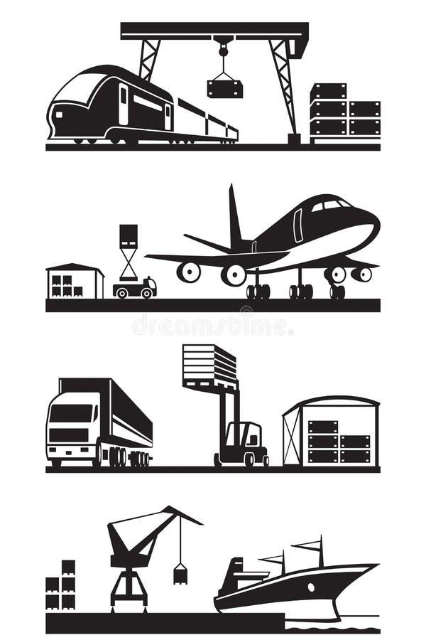 Terminais da carga na perspectiva ilustração stock