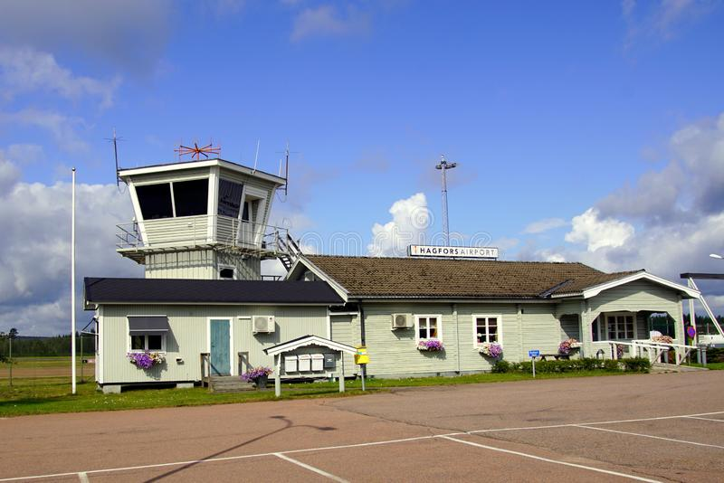 Terminal building and Air traffic control tower of Hagfors Airpot, Sweden. stock photography