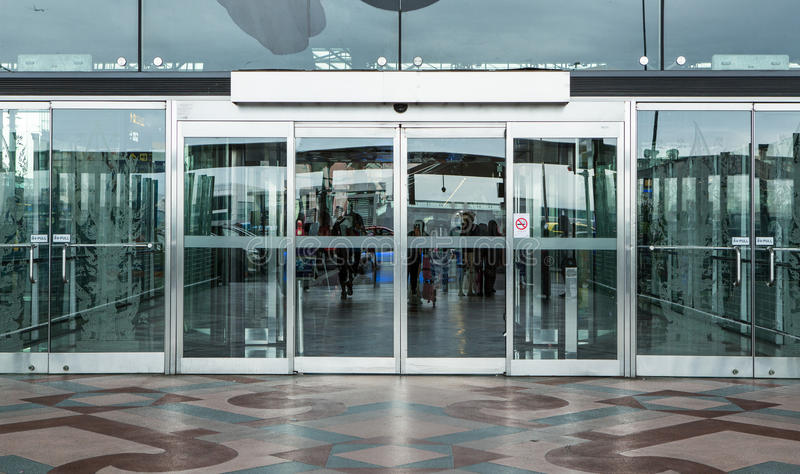 Terminal building gate entrance and automatic glass door stock photography