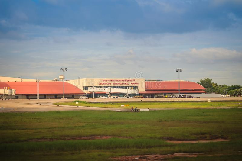 Terminal building on grass field of Udon Thani International Airport (UTH), located near the city of Udon Thani Province in the no stock image