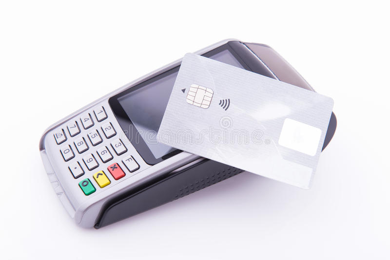 Terminal business with credit card. On white background stock images