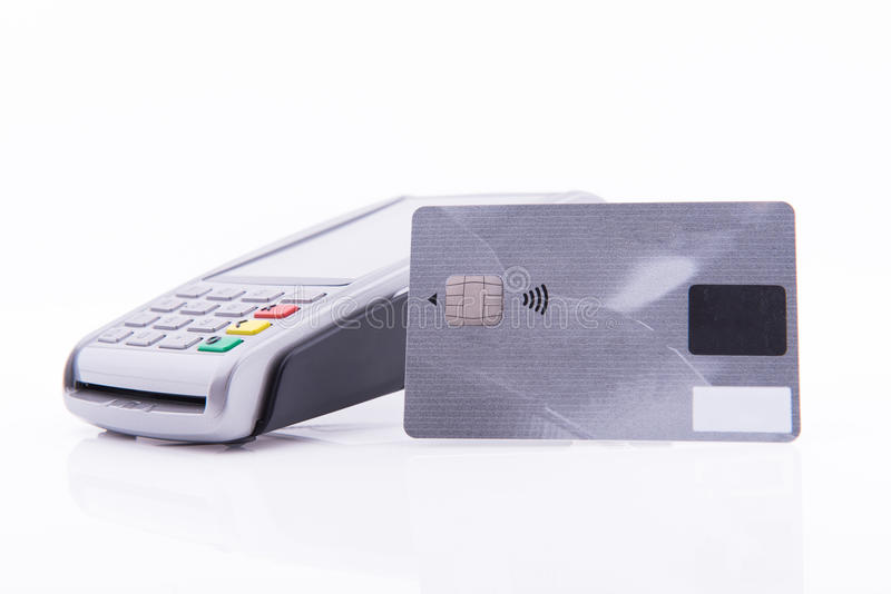 Terminal business with credit card. On white background stock photos