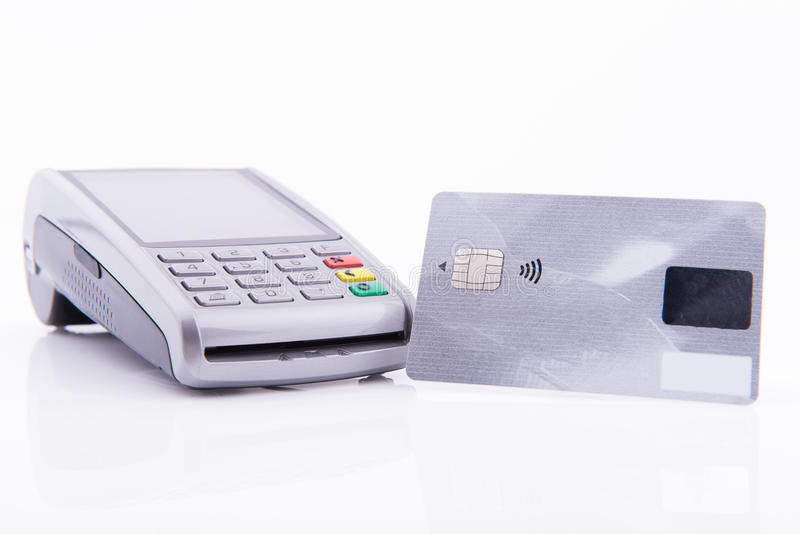 Terminal business with credit card. On white background stock image
