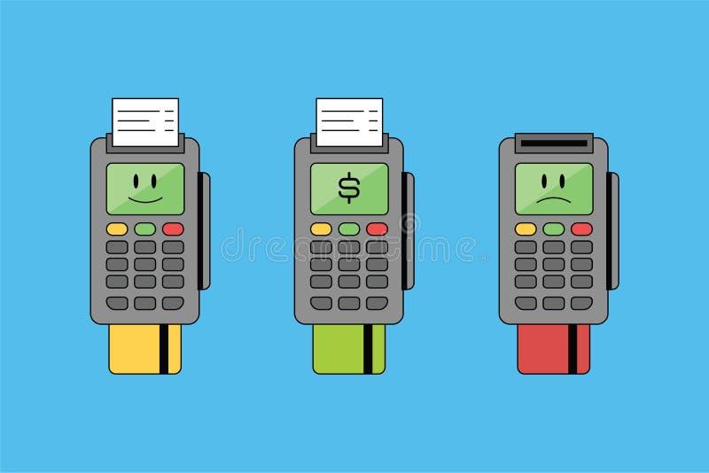 Terminal con la tarjeta de banco y el recibo, finanzas Icono y ejemplo del emoji del vector con la muestra de la sonrisa, triste  libre illustration