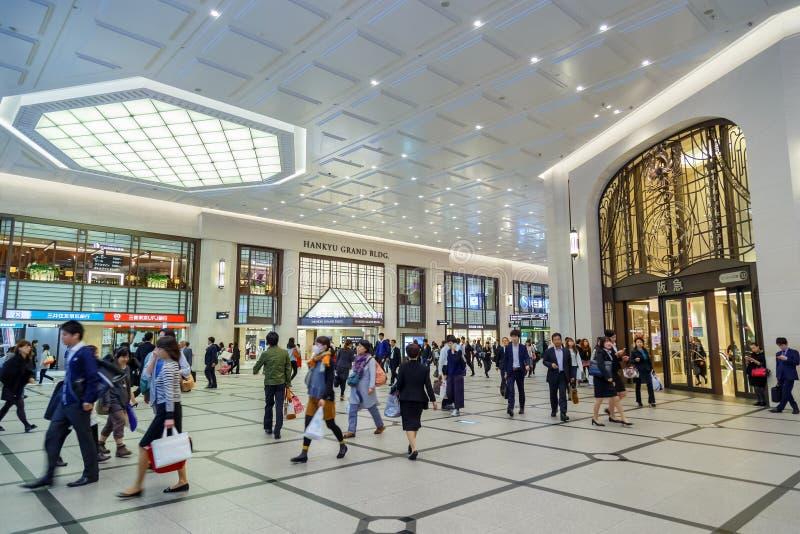 Terminal d'Umeda au fond photographie stock
