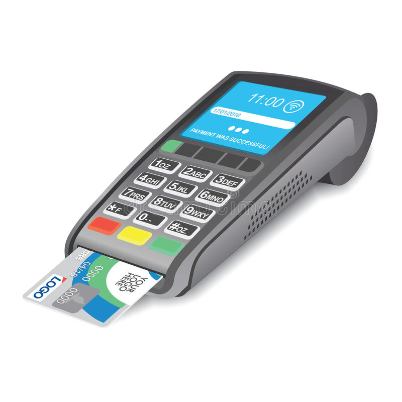 Terminal da posição com o cartão de crédito no fundo branco ilustração do vetor