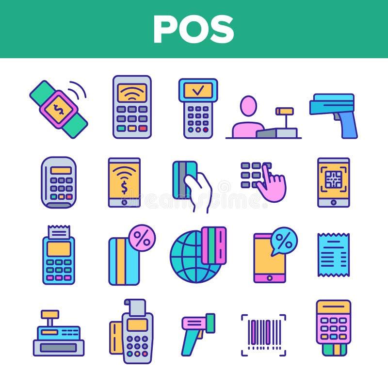 Terminal da posição, grupo linear dos ícones do vetor móvel do pagamento ilustração do vetor