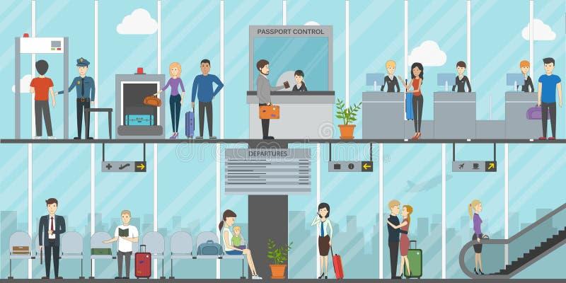 Terminal de aeroporto liso ilustração royalty free