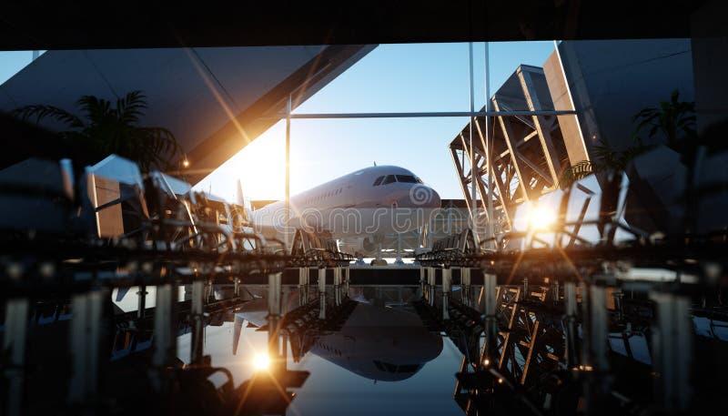 Terminal de aeroporto Por do sol de Wonderfull Conceito do negócio e do curso rendição 3d ilustração royalty free