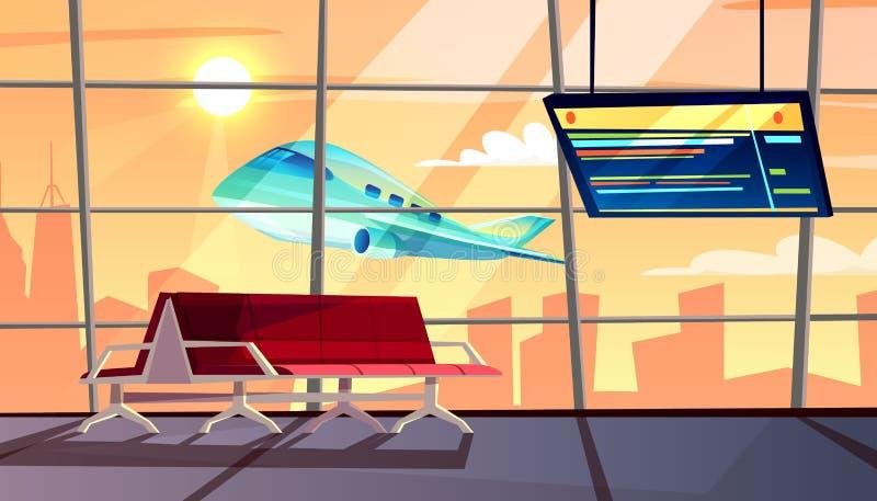 Terminal de aeropuerto con el ejemplo del vector del horario de vuelo stock de ilustración