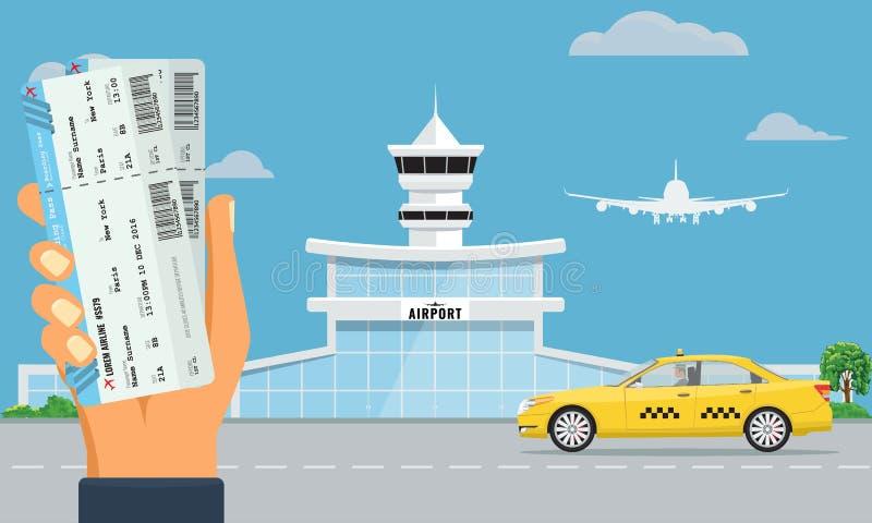 Terminal de aeropuerto y taxi amarillo Mano que celebra dos billetes de avión Diseño del color plano y sólido del fondo urbano stock de ilustración