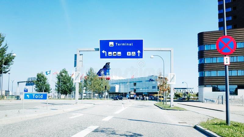Terminal de balsa de DFDS no porto de Copenhaga foto de stock royalty free