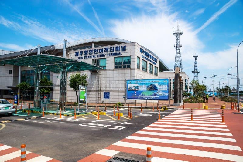 Terminal de balsa de Jeju no Jeju-si, ilha de Jeju, Coreia do Sul imagem de stock royalty free