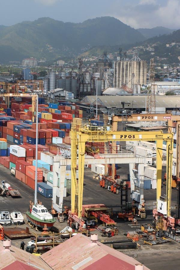Terminal de cargaison à Port-d'Espagne, Trinidad-et-Tobago images libres de droits