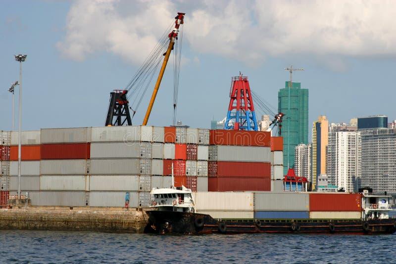 Terminal de conteneur de Hong Kong images libres de droits
