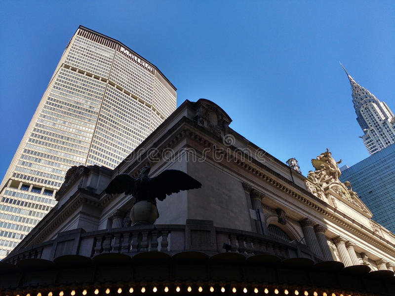 Terminal de Grand Central, estação de Grand Central, construção de Chrysler, construção de MetLife, New York City, NYC, NY, EUA imagem de stock royalty free