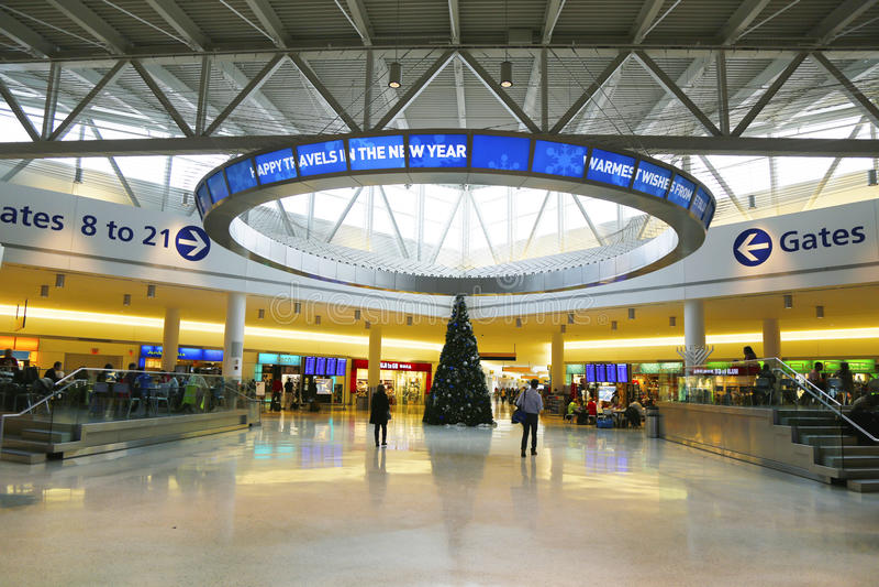 Terminal 5 de JetBlue em John F Kennedy International Airport em New York imagens de stock