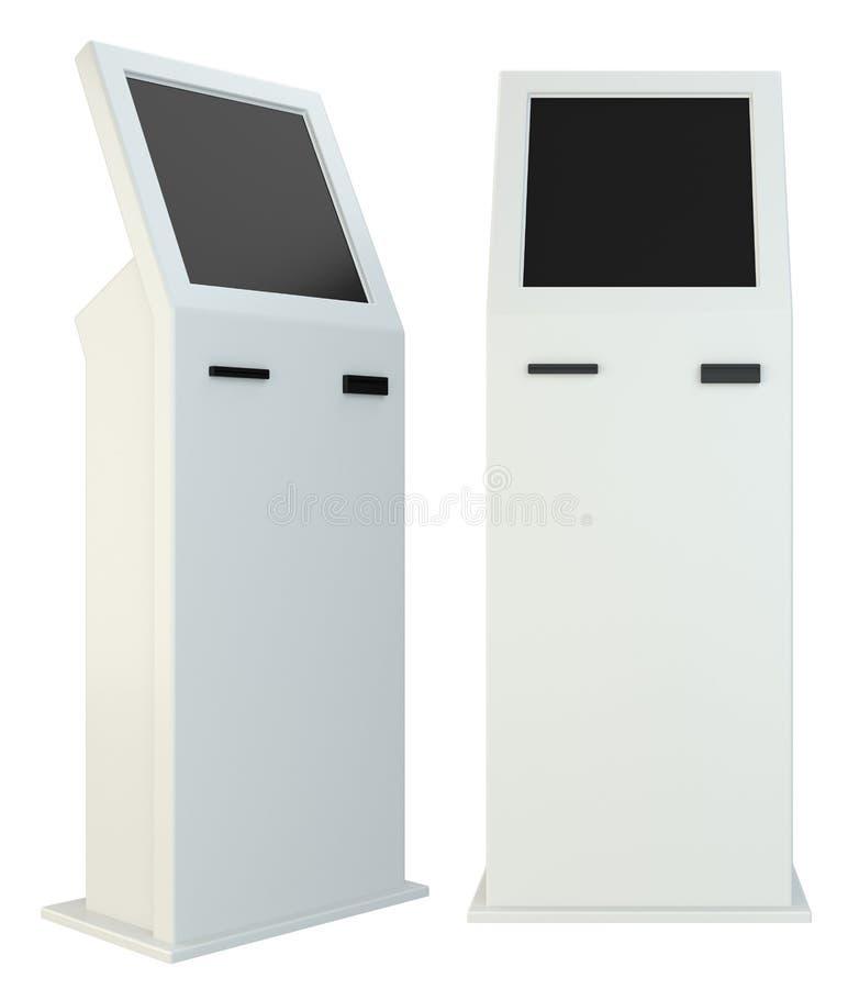 Terminal de la información quiosco interactivo en el fondo blanco Aislado en el fondo blanco representación 3d ilustración del vector