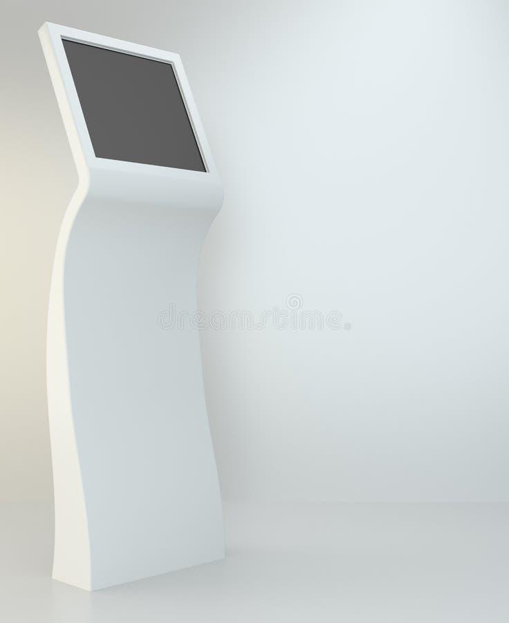 Terminal de la información quiosco interactivo en el fondo blanco representación 3d fotos de archivo libres de regalías