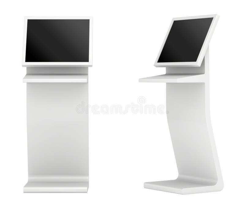 Terminal de la información quiosco interactivo en el fondo blanco representación 3d ilustración del vector