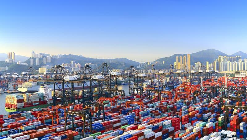 Terminal de recipiente de Hong Kong Kwai Chung imagens de stock