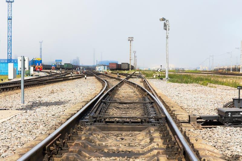 Terminal del transporte de mercancías por ferrocarril foto de archivo