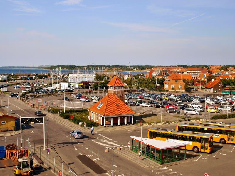 Terminal do porto e de balsa em Ronne fotos de stock royalty free