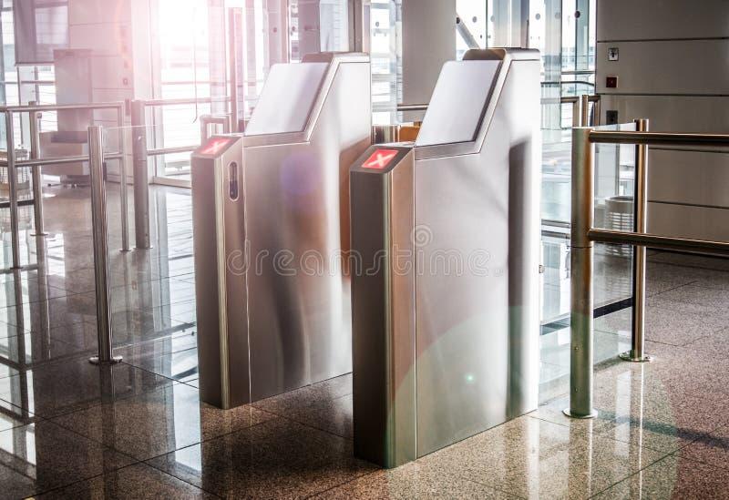 Terminal gateway in aeroport. Terminal gateway aeroport closed people door hitech stock photo