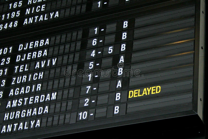 Terminal Info Board - 01. Airport departure board in terminal with flight information royalty free stock image