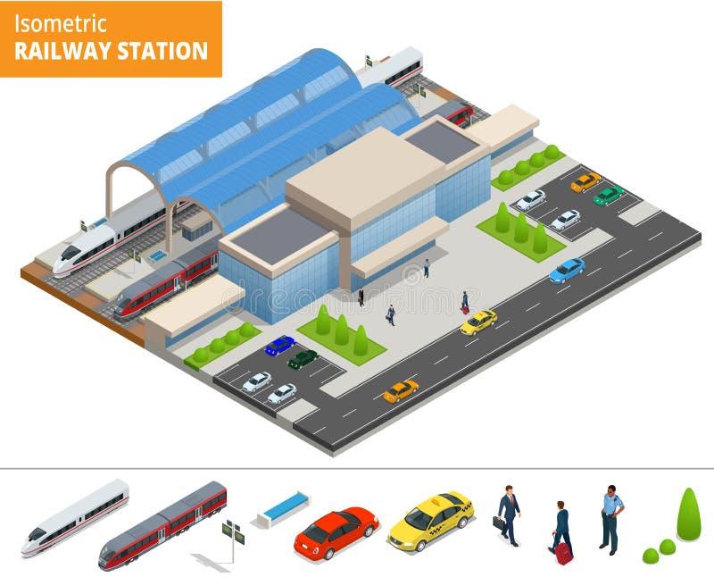 Terminal infographic isométrique de bâtiment de gare ferroviaire d'élément de vecteur illustration libre de droits