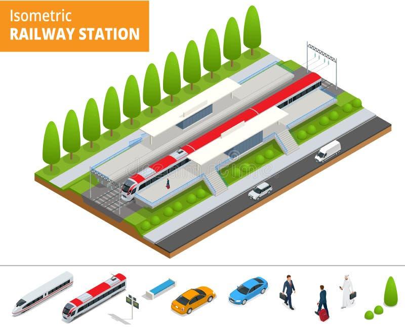 Terminal infographic isométrique de bâtiment de gare ferroviaire d'élément de vecteur illustration stock