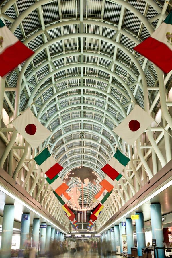 Terminal internationalen Flughafens des Chicago-Ohare stockbilder