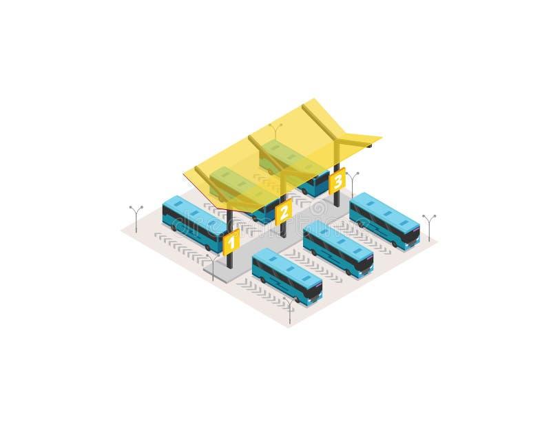 Terminal isométrico da estação de ônibus do vetor ilustração royalty free