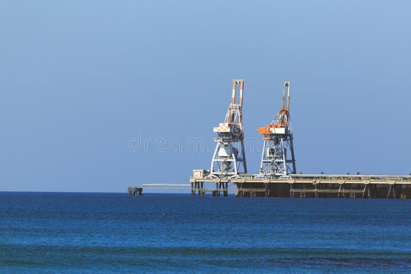 Terminal marino en el mar Mediterráneo, Israel, Cesaria foto de archivo