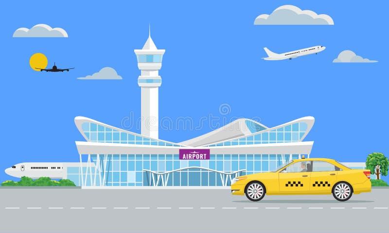 Terminal moderna sólida de aeropuerto y taxi amarillo Ilustración del vector stock de ilustración