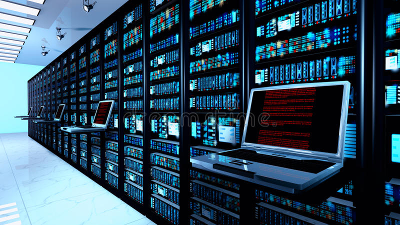 Terminal monitor in server room with server racks in datacenter interior stock photo