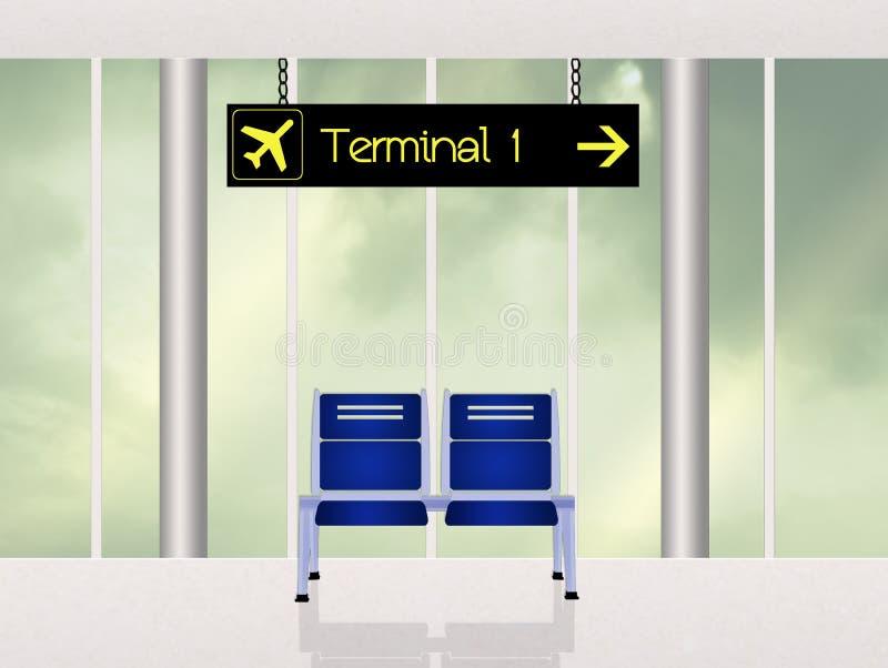 Terminal na cena do aeroporto ilustração stock
