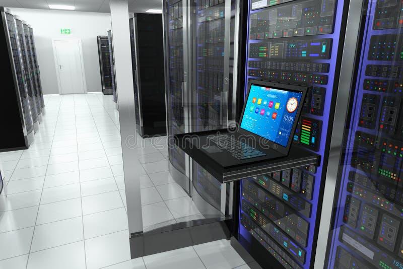 Terminal na sala do servidor ilustração do vetor