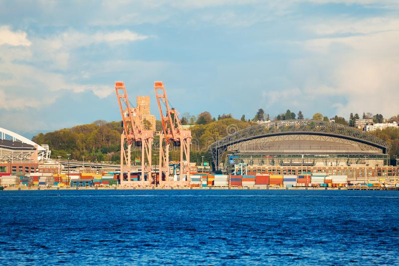 Terminal operators and containers at the port royalty free stock photos