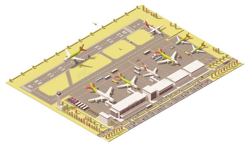 Terminal polivinílica baja isométrica de aeropuerto del vector stock de ilustración