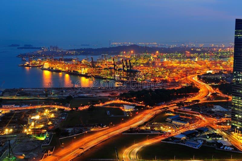 Terminal portuaria de Tanjong Pagar en Singapur foto de archivo libre de regalías