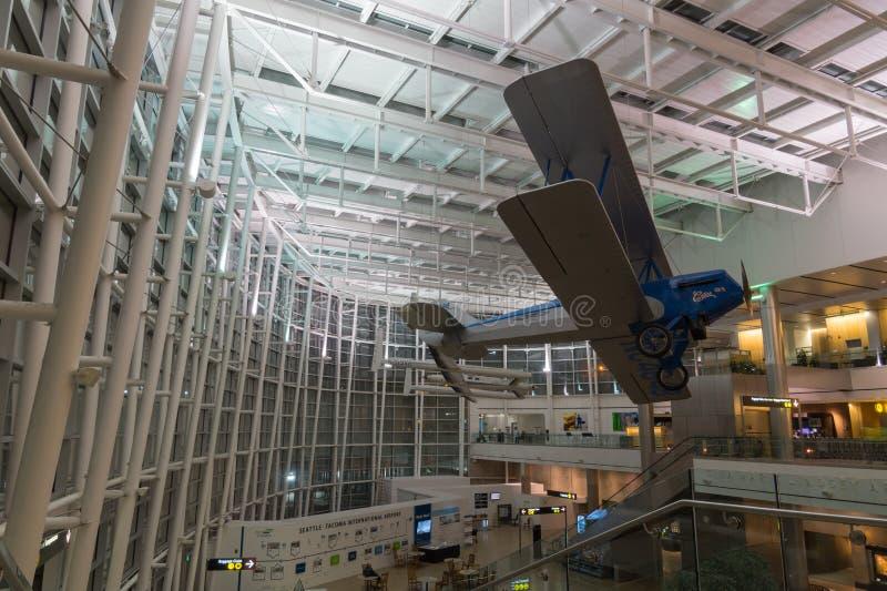 Terminal principal d'aéroport international de Seattle-Tacoma, Seattle image libre de droits